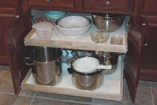 pull shelves verses deep drawer storage shelf kitchen cabinet out wire plans cabinets down
